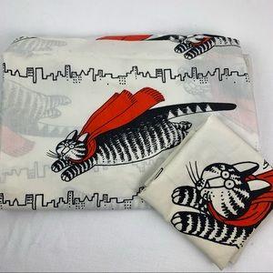 VTG B Kilban Flying Cat SuperHero Sheet Pillowcase